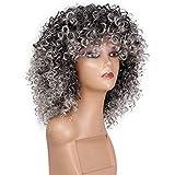 TIREOW Perücke Damen Curly Mix graue Haar Perücke mit Pony Synthetische Neue Ankunft Billige Perücken