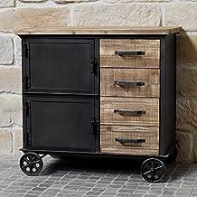 Mueble industrial campaña (madera y hierro Bahut Enfilade cómoda con ruedas mesillas cajones