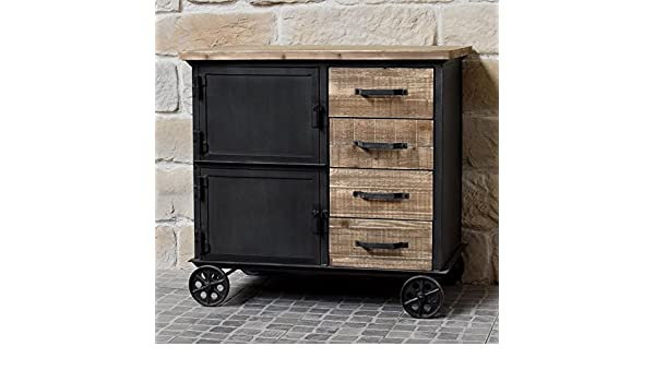 Credenza Con Rotelle : Mobile industriale campagna in legno e ferro credenza madia