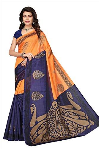 Fabwomen Women's Cotton Silk Saree With Blouse Piece (Bhagalpuri Floral Print Saree_Orange)