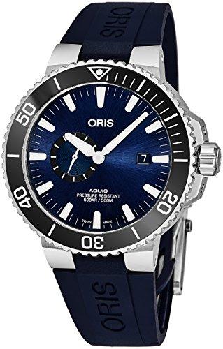 Oris Aquis Small Second date uomo acciaio orologio automatico Diver–45mm analogico blu volto blu gomma Band Swiss Luxury 500m impermeabile orologio subacqueo per uomini 0174377334135–0742465EB