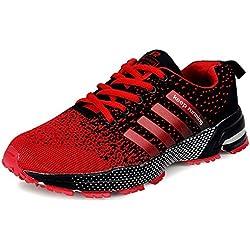Wealsex Zapatos Para Correr En Montaña Asfalto Aire Libre Deportes Zapatillas De Running Para Hombre (Negro y rojo,45)
