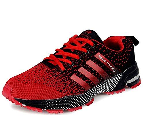 Wealsex Zapatos Para Correr En Montaña Asfalto Aire Libre Deportes Zapatillas De Running Para Hombre (Negro y rojo,40)