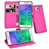 Cadorabo Hülle für Samsung Galaxy Alpha - Hülle in Cherry PINK – Handyhülle mit Kartenfach und Standfunktion - Case Cover Schutzhülle Etui Tasche Book Klapp Style