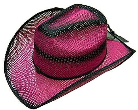 Modestone Women's Ladies Straw Breezer Chapeaux Cowboy Fuchsia