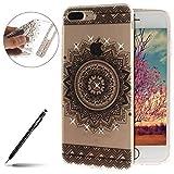 uposao carcasa iphone 7/8Plus Mandala Transparente con diseño brillante pedrería brillante Cover, Mandala Noir#1