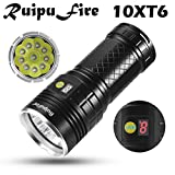 happy event ruipufire 10X XM-L T6LED torcia batteria visualizza per campeggio, escursionismo, ciclismo, emergenza, Outdoor   Display LED Battery Flash LIGT