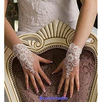 Brauthandschuhe Hochzeit Handschuhe Spitze Perlen ivory