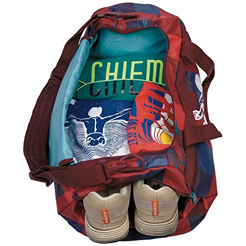 Chiemsee Reisetasche Sporttasche Matchbag Medium, schöne leichte trendige Reisetasche/Freizeittasche mit Schuhfach Mehrfarbig (Checks Floral)