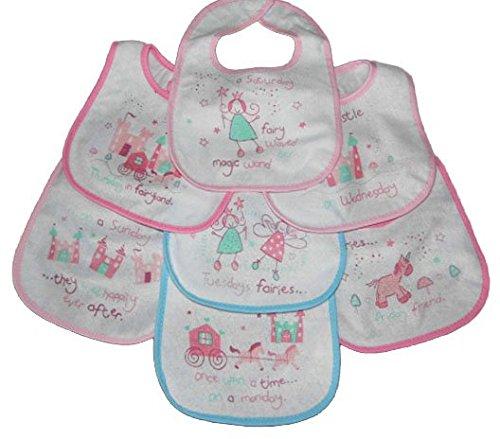 Baby lätzchen mit Klett Verschluss Gestützt Mit Kunststoff 3 Entwürfe 0-6 - Mädchen Fairy tales, 0-6 Monate (Klett-rock)