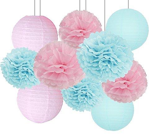 Pompoms Deko Babyparty Baby Dusche Dekorationen Baby Blue Pink Tissue Papier Pom Pom Blumen Papier Laternen für Geburtstag / Rosa und Blau Dekorationen / Gender Reveal Dekorationen