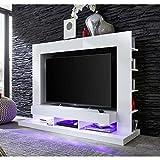 TT05 Meuble TV mural avec éclairage LED contemporain blanc mat et blanc brillant - L 164 cm
