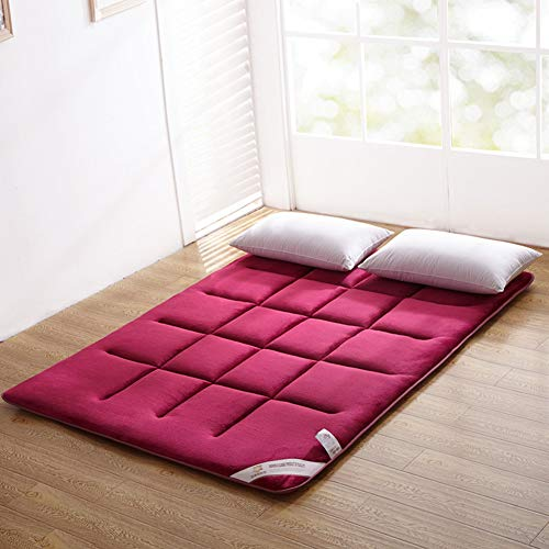 YQ WHJB Plegable Japonés Suelo Colchón de futon,Franela Sleeping Pad,Colchón Tatami Rodillo de la Cama Antideslizante Color sólido Shikibuton-Rojo Completo