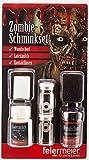 Zombie Makeup Set für Halloween mit Wundschorf, Latexmilch & weißen Kontaktlinsen - Horror Schminke Schminkset Narbe Wunde schminken