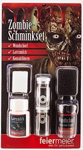 Zombie Makeup Set für Fasching & Halloween mit Wundschorf, Latexmilch & weißen Kontaktlinsen - Horror Schminke Schminkset Narbe Wunde schminken Verkleidung Kostüm