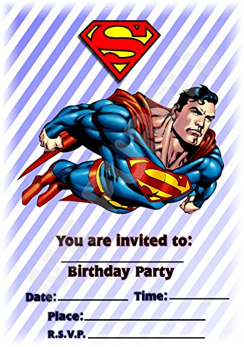 eburtstag Party lädt – Hochformat Streifen Design – Party Supplies/Zubehör (12 Stück A5 Einladungen) WITHOUT Envelopes (Superman Party Supplies)