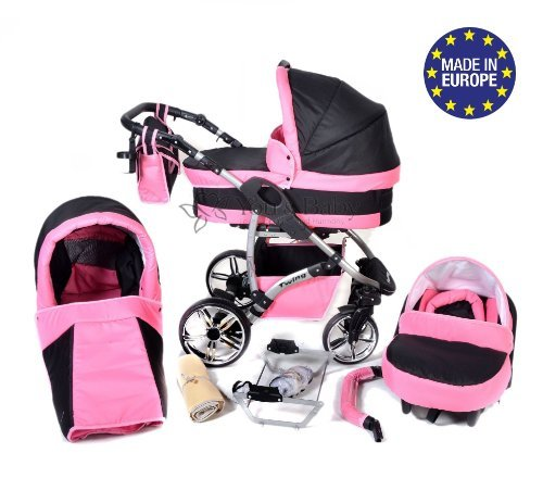 Twing, 3-in-1 Travel System with Baby Pram, Car Seat, Pushchair & Accessories, Black & Pink