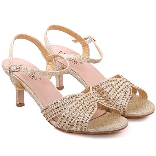 Unze Sandales de Mariage Agrémentée Femmes de Jina  Or