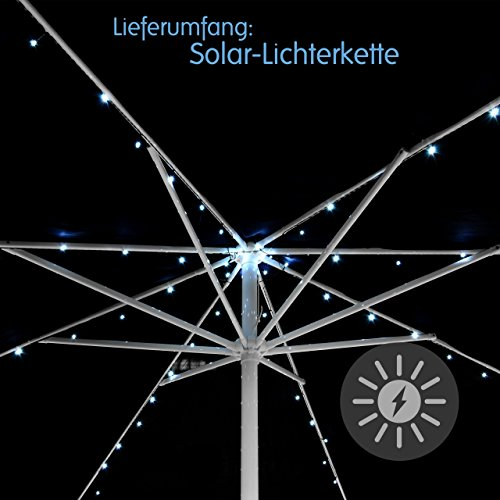 Nexos 72 LED Solar Lichterkette Weiß für Sonnenschirm 8 Stränge á 1,45 m je 9 LED mit Funktionen Sonnenschirmbeleuchtung Blinkfunktion