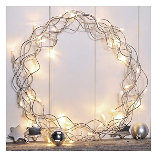 Metallkranz mit 40 warm-weißen LED\'s - Beleuchteter Türkranz LED Metall Kranz Weihnachtsbeleuchtung Weihnachten Deko