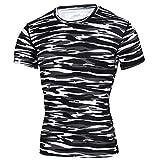 Männer Frühling Sommer Männer T-Shirts 3D Gedruckt Tier t-Shirt Kurzarm Lustige Design Casual Tops Tees Männlich,Camouflage Training Fitness T-Shirt Schwarz XL