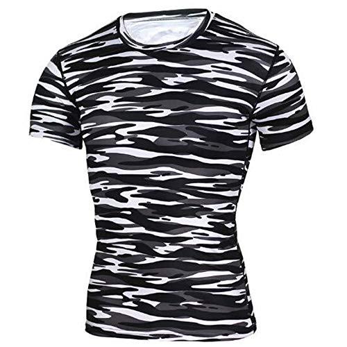 Männer Frühling Sommer Männer T-Shirts 3D Gedruckt Tier t-Shirt Kurzarm Lustige Design Casual Tops Tees Männlich,Camouflage Training Fitness T-Shirt Schwarz S -