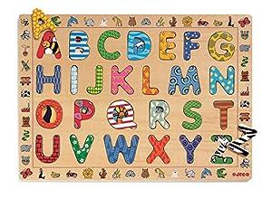 Djeco DJ01800 - Puzzle encajable de Madera con Las Letras del Alfabeto Importado de Francia