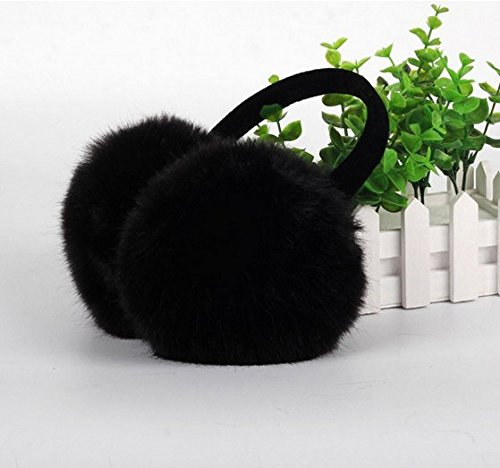 Arpoador 1x Kunstfell Winter Ohr Wärmer Weiche Ohrenschützer Ohrenwärmer mit Earlap schwarz (Kaninchen Angora Garn)