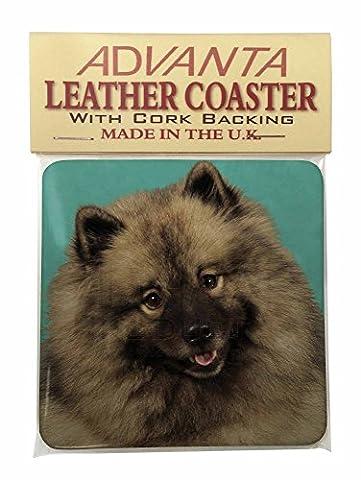 Keeshond Dog Single Leather Photo Coaster Animal Breed Gift
