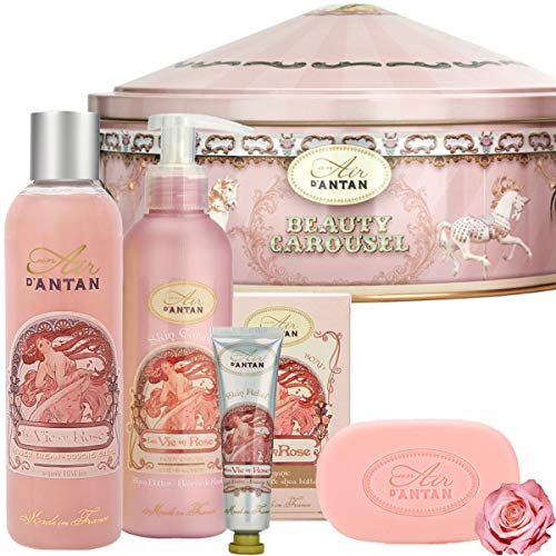 Lustige Geschenke Für Frauen: Französisches Beauty Set 1 Duschgel 250ml + 1 Bodylotion 200ml + Handcreme 25ml + 1 Seife 100g in einem Vintage Metallbox Parfüm Damen Rose, Pfirsich von Un Air d\'Antan®