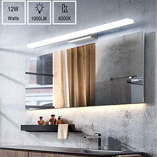 Yafido Aplique Espejo Baño Interior LED 50CM luz Baño Lámpara de Pared Espejo Iluminación para Maquillaje...