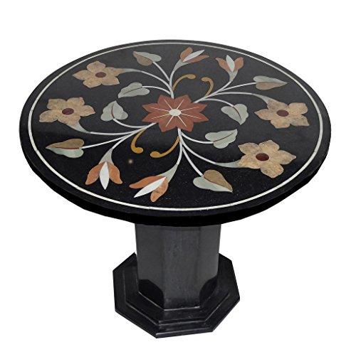 58,4x 58,4cm Tavolino rotondo Centro, Top in marmo nero Inlay Mosaico floreale Home (Intagliato A Mano Madreperla)