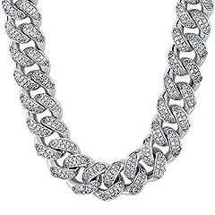 Idea Regalo - KRKC&CO Collana Uomo a Catena Cubana Miami (12mm Oro bianco con diamanti, 50.8)