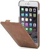 StilGut UltraSlim Case Hülle Leder-Tasche für iPhone 6. Dünnes 360 Grad Flip-Case vertikal klappbar aus Echtleder für das Original iPhone 6 (4,7 Zoll), cognac vintage