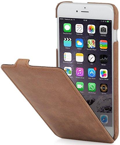 StilGut UltraSlim Case Hülle Leder-Tasche für iPhone 6. Dünnes 360 Grad Flip-Case vertikal klappbar aus Echtleder für das Original iPhone 6 (4,7 Zoll), cognac - Leder Case Iphone 6 Vertikal
