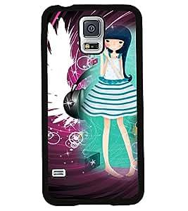 PRINTVISA Girl Listening music Premium Metallic Insert Back Case Cover for Samsung Galaxy S5 - G900I - D5770