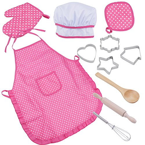 niCWhite Kids Chef Play Set, Kids Cooking Playset,Chef Dress Up Outfit Set with Kids Apron,Chef Hat and Other Accessories,11pcs Children Pretend Role-play Cooking Toy for Age 3+
