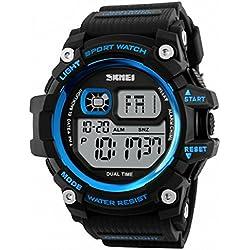 SKMEI Black Resin with Blue Detail Digital Multifunction Sports Wristwatch for Men