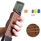 Volwco Kit d'entraînement de Guitare de Poche pour débutant, Mini 6 frettes de mémoire avec écran de Tableau Rotatif et clé de réglage et Sac en Tissu