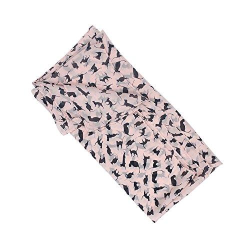 niceeshop(TM) Mode Doux en Mousseline de Soie Abricot Chat Imprime Femmes de Longues écharpes Rose