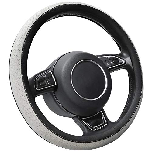 SEG Direct Grau Lenkradhülle Lenkrad Abdeckung Lenkradbezug aus Mikrofaser-Leder für Prius Civic 35.5-36 cm