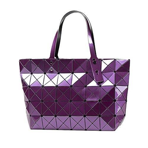 Stilvoll Split Joint Geometrisch Gitter Schultertasche Handtaschen Multicolor Purple