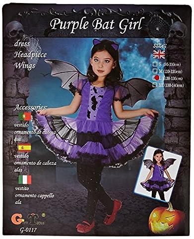 Amurleopard Kinder Kostüm für Mädchen Fledermaus L (Körpergröße:120-130 cm) (Amazon Halloween-kostüme Für Kinder)