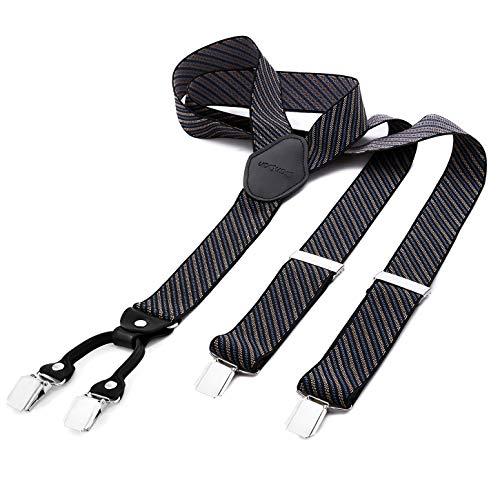 DonDon® Herren Hosenträger breit 4 Clips mit Leder in Y-Form - Schwarz Blau