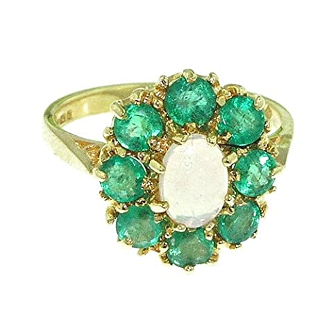 Luxury Ladies Solid 9ct Gold Natural Opal & Emerald Large Cluster Ring - Size U - Finger Sizes K to Y