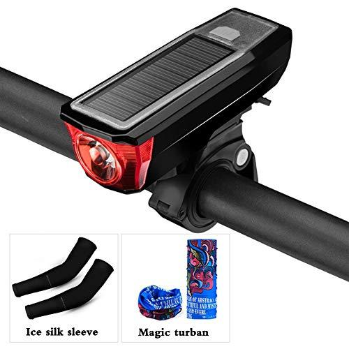 CYSHAKE Front Fahrrad Licht Lampe Solar Lade Hohe Intensität Ultra Bright USB Mobile Power Mountain Rennrad Lichter mit einem Horn (Color : Red)