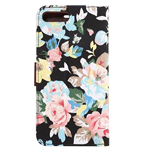 Hülle für iPhone 7 plus , Schutzhülle Für iPhone 7 Plus Cotton Print Texture Horizontale Flip Leder Tasche mit Card Slot & Halter ,hülle für iPhone 7 plus , case for iphone 7 plus ( Color : Blue ) Black