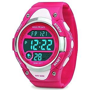 Digital Uhren für Mädchen Geschenke – Kinder Outdoor Sportuhren mit LED, 5 ATM Wasserdicht Sport Elektronische Handgelenk Digitaluhren mit Wecker Woche für Teenagers Rose