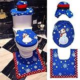 Kfnire Kit de Decoración de Baño Papá Noel para Tapa del Inodoro, 3pcs Toilet Set Funda de Asiento y Alfombra y Caja de Tejido (#A)