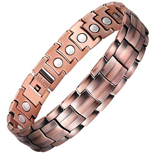 viterou Herren Armband reines Kupfer magnetisches Armband mit Magneten zur Schmerzlinderung für Arthritis, 3500Gauss
